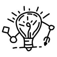 ideia de negócio desenhada mão ícone design, contorno preto, ícone do vetor. vetor