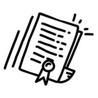 certificado de negócios mão desenhada ícone design, contorno preto, ícone do vetor. vetor