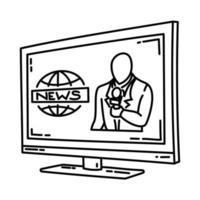 ícone de reportagem ao vivo. doodle desenhado à mão ou estilo de ícone de contorno vetor