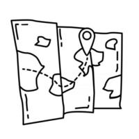 caminhadas mapa de aventura, viagem, viagem, acampamento. desenho de ícone desenhado à mão, contorno preto, ícone de doodle, vetor