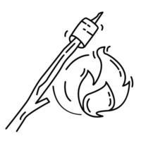 caminhada aventura marshmallow, viagem, viagem, acampamento. desenho de ícone desenhado à mão, contorno preto, ícone de doodle, vetor