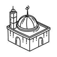 ícone da mesquita. doodle desenhado à mão ou estilo de ícone de contorno vetor