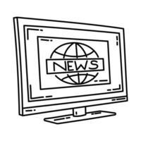 ícone de notícias. doodle desenhado à mão ou estilo de ícone de contorno vetor