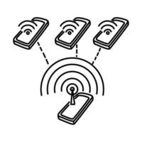 ícone de ponto de acesso. doodle desenhado à mão ou estilo de ícone de contorno vetor