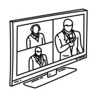 ícone de reunião online. doodle desenhado à mão ou estilo de ícone de contorno vetor