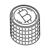 ícone de moeda de bits. doodle desenhado à mão ou estilo de ícone de contorno vetor