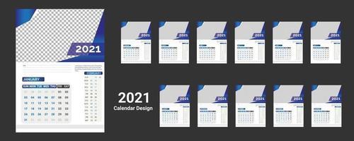 Modelo de calendário de parede 2022 para empresa moderna de negócios corporativos de ano novo com design criativo profissional vetor