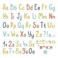alfabeto fofo conjunto de letras, números e símbolos de pontuação manuscritos de uma criança simples. letras maiúsculas e minúsculas. conjunto de vetores isolado no fundo branco.