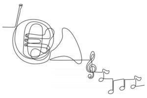 desenho de linha contínua de instrumento musical trompa francesa com ilustração vetorial de tom de instrumento vetor