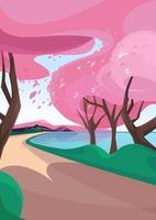 sakura com folhas caindo. paisagem natural na orientação vertical. vetor