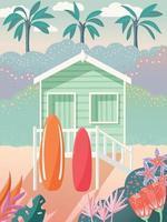 bangalô na praia com pranchas de surf no deck. palmeiras ao fundo e decoração floral. casa de verão na areia, cena tropical exótica. ilustração vetorial colorida. vetor