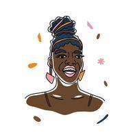 retrato lindo sorriso mulher africana, direitos humanos, luta contra o racismo. arte de linha, estilo minimalismo. ilustração do mês da história negra. vetor