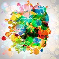Cara de mulher colorida com folhas vetor