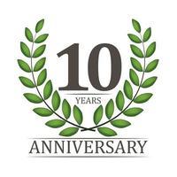Modelo de aniversário de 10 anos com fita vermelha e ilustração em vetor coroa de louros