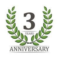 Modelo de aniversário de 3 anos com fita vermelha e ilustração vetorial de coroa de louros vetor