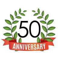 Modelo de aniversário de 50 anos com fita vermelha e ilustração em vetor coroa de louros