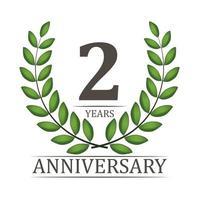 Modelo de aniversário de 2 anos com fita vermelha e ilustração em vetor coroa de louros
