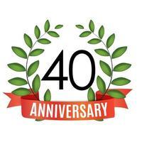Modelo de aniversário de 40 anos com fita vermelha e ilustração em vetor coroa de louros