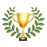 troféu vencedor taça de ouro com coroa de louros. ilustração vetorial vetor