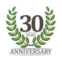 Modelo de aniversário de 30 anos com fita vermelha e ilustração em vetor coroa de louros