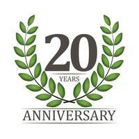 Modelo de aniversário de 20 anos com fita vermelha e ilustração em vetor coroa de louros