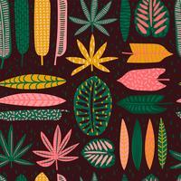 Padrão sem emenda tribal com folhas abstratas. vetor