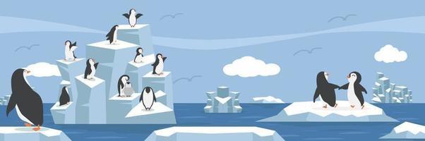 Ártico do pólo norte com paisagem de grupo de pinguins vetor