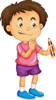 um menino segurando um personagem de desenho animado a lápis isolado no fundo branco vetor