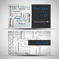 Cartão de visita frente e verso com capitais europeus