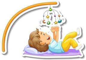 modelo de adesivo com uma menina brincando de bebê móvel isolado vetor