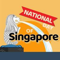 banner do dia nacional de Singapura com mascote oficial de Merlion vetor