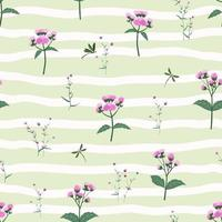 padrão sem emenda com flores silvestres roxas em fundo despojado vetor