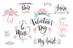 Feliz Dia dos namorados. Conjunto de inscrições de mão desenhada. vetor