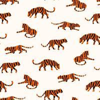Sem costura padrão exótico com silhuetas abstratas de tigres. vetor