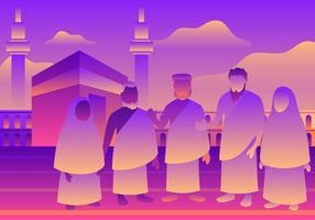 Vetor de comunidades multiculturais Umrah e Hajj