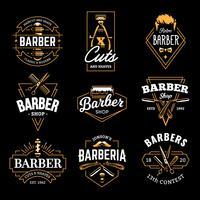 Emblemas retrô de vetor de loja de barbeiro