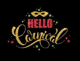 Carnaval brilhante design de letras. vetor