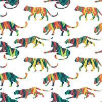 Sem costura padrão exótico com silhuetas abstratas de animais.