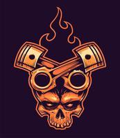 Crânio de vetor com pistões cruzados e fogo