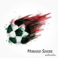pintura em aquarela realista da poderosa seleção nacional de futebol de Marrocos ou tiro de futebol. conceito artístico e esportivo. vetor para a copa do torneio do campeonato mundial internacional 2018. design plano.