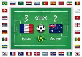 futebol ou partida de futebol com placar e conjunto de todas as bandeiras nacionais vetor