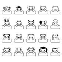 estilo cartoon doodle engraçado bebê crianças estampado animal kawaii vetor