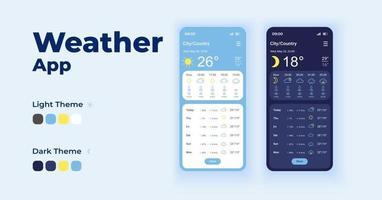 previsões diárias conjunto de modelos de vetor de interface de smartphone de desenhos animados. tela do aplicativo móvel design do modo noturno e diurno. observações meteorológicas. previsão do tempo ui para aplicação. display do telefone