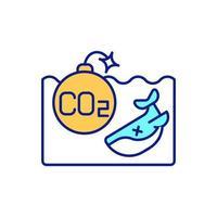 efeitos do carbono no ícone de cor rgb do ambiente do oceano. ameaça à vida marinha. co2 aumentando. alterações climáticas globais. ilustração isolada do vetor. desenho simples preenchido com acidez oceânica aumentada vetor