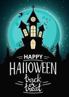 plano de fundo do dia das bruxas, modelo vertical para a sua criatividade com paisagem noturna com lua cheia, um antigo castelo em uma colina e bruxas. vetor