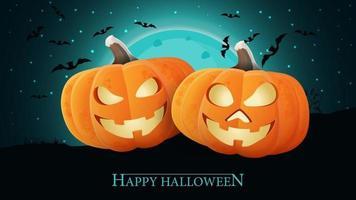 feliz dia das bruxas, azul horizontal recebendo cartão postal com duas abóboras divertidas contra a paisagem noturna vetor
