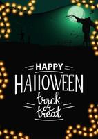fundo de halloween, modelo vertical para sua criatividade com paisagem noturna com lua cheia verde, zumbi, bruxas e espantalho. modelo com espaço para texto vetor