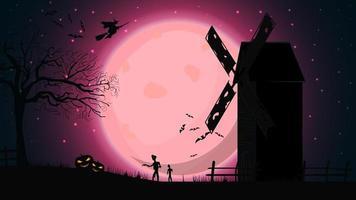 fundo de halloween, modelo para sua criatividade com paisagem noturna rosa com lua cheia, moinho antigo, bruxas e zumbis. modelo para sua arte vetor