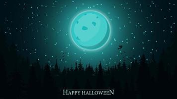 fundo de dia das bruxas, lua cheia sobre floresta escura. modelo de halloween azul para sua arte vetor