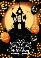 feliz dia das bruxas, modelo vertical para a sua criatividade com grande lua cheia e o velho castelo no fundo. modelo decorado com balões e guirlandas de halloween vetor